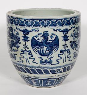 Chinese Blue & White Dragon & Phoenix Jardiniere