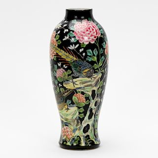 Finely Painted Chinese Famille Noir Vase