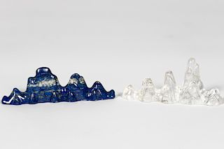 Two, Chinese Brush Rests, Lapis & Rock Crystal