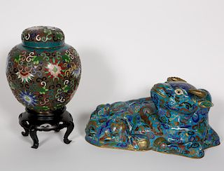 Two Cloisonne Pieces, Lidded Jar and Ox