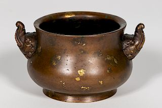 Chinese Bronze Gold Splash Censer, Marked