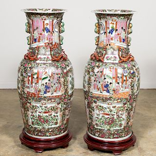 Pair, Large Chinese Rose Medallion Floor Vases