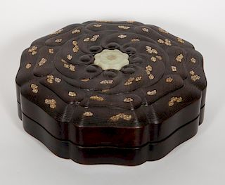 Chinese Zitan, Jade and Mother of Pearl Inlaid Box