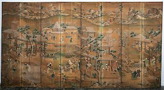 18/19th C. Chinese Export Wallpaper 8-Panel Screen
