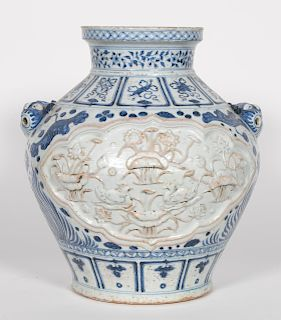 Floral Carved Chinese Blue & White Baluster Vase
