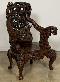 Asian Finely Carved Hardwood Monkey Chair