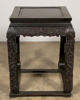 Chinese Hand Carved Dragon Motif Hardwood Table