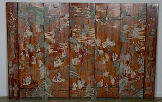 Chinese Six Panel Figural & Landscape Floor Screen