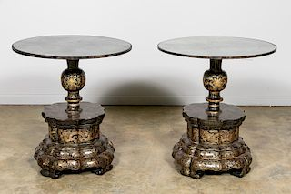 Pr., Chinese Gilt Black Lacquer Tables