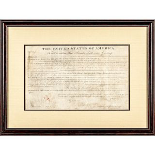 1825 Vellum Land Grant Document Signed by JOHN QUINCY ADAMS as President