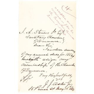 1864-Date Civil War period General JOHN JACOB ASTOR JR. Autograph Letter Signed