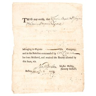 1778 Revolutionary War Nathaniel Barber Signed, Ex: Boston Tea Party Participant