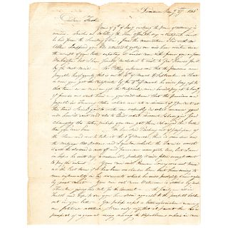 1816 John B. Barton ALS to his Imprisoned Father Rev. War General William Barton