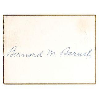 BERNARD M. BARUCH Autographed Signed Card