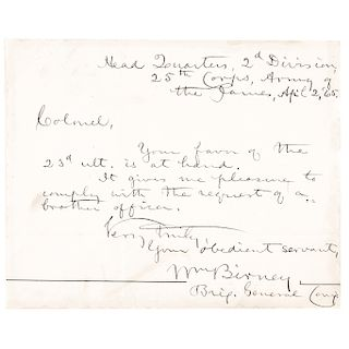 1865 Abolitionist Union Civil War General WILLIAM BIRNEY Autograph Letter Signed