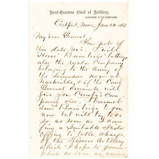 JOHN MILTON BRANNAN Autograph Letter Signed 1865 Civil War Date