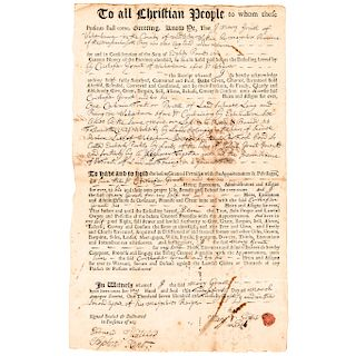 1728 General WILLIAM BRATTLE Signed Land Sale Document as Justice of the Peace