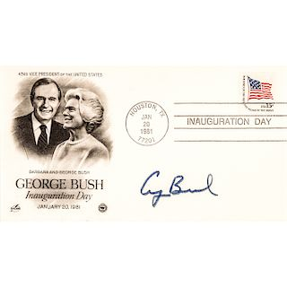 Two GEORGE H.W. BUSH 1981 Inauguration Day Cache Covers Signed
