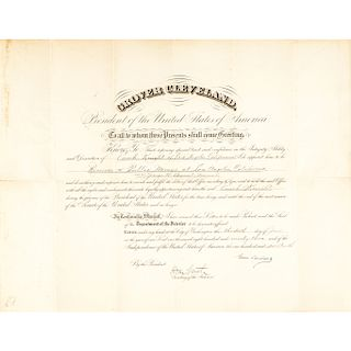 1893 President GROVER CLEVELAND Signed Document