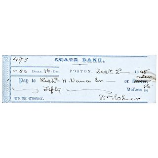 1848 Author RICHARD HENRY DANA JR. Personal Endorsed Check