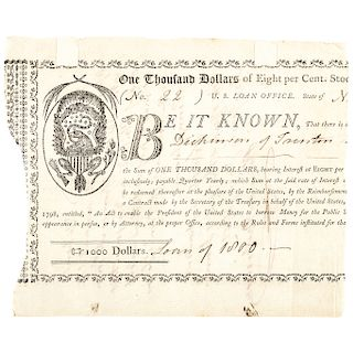 PHILEMON DICKINSON Signed 1798 U.S. 8 Percent Loan Hessler X60 R-7 (4-12 known)!