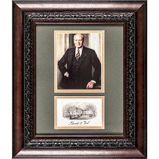 GERALD R. FORD Signed Official White House Card Custom Framed Display