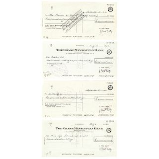 Dealer/Collector Autograph Lot of FOUR (4) J. PAUL GETTY Signed Checks
