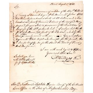 1780 MICHAEL HILLEGAS Signed Financial Letter as Continental Congress Treasurer!