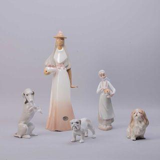 Lote de figuras decorativas. México y España, siglo XX. Elaboradas en porcelana Monte Bello, Casades y otros, acabado brillante. Pzs:5