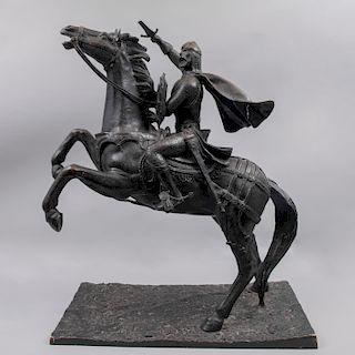 LUIS STREMPLER. El Cid Campeador. Fundición en bronce patinado. Firmado. 84 x 68 x 35 cm