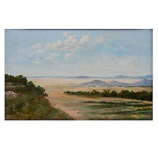 Firmado N. Mendoza V. Paisaje. Óleo sobre tela. Firmado y fechado 82. Enmarcado. 24 x 39 cm