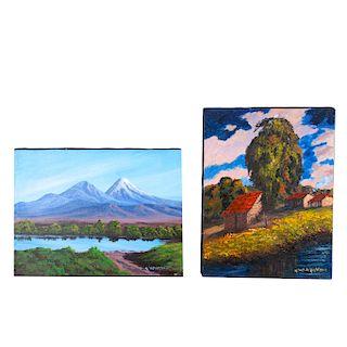 """Lote de paisajes. Siglo XX. Casas campestres con lago. Óleo sobre tela. Firmado """"Urbano Mendoza"""". Piezas: 2"""