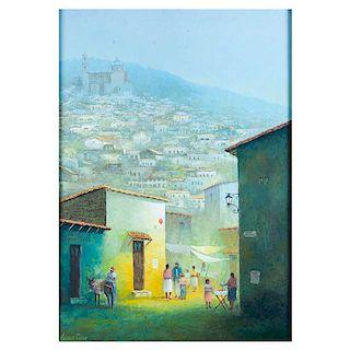 Efrén Cisneros García. Los recuerdos. Óleo sobre tela. Firmado. Enmarcado. 70 x 50 cm