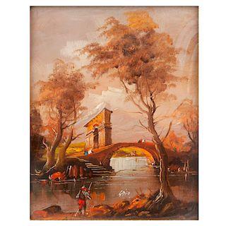 Grifo. Siglo XX. Vista de paisaje con puente. Óleo sobre rígido. Enmarcado en madera tallada dorada con vidrio convexo.
