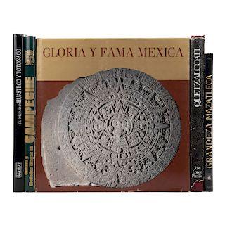 LOTE DE LIBROS MÉXICO PREHISPÁNICO. a) Quetzalcoatl. b) Gloria y Fama Mexica. Piezas: 5.