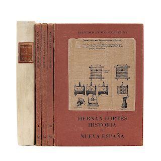 LOTE DE LIBROS: HISTORIA DE LA NUEVA ESPAÑA. a) Lorenzana, Francisco Antonio.  Historia de Nueva España. Piezas: 5.