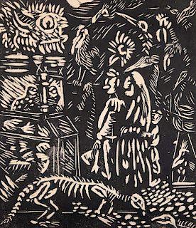 ALFREDO ZALCE, Sin título. Xilografía. Firmada y fechada 1941. 29 x 24 cm