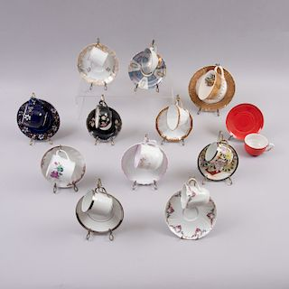 Colección de tazas y platos para té. Francia, Alemania, otros. Siglo XX. Elaborados en porcelana Limoges y otras marcas. Pz:24