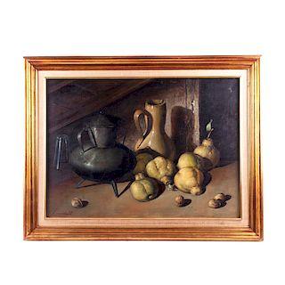 Bodegón con peras. Siglo XX. Óleo sobre tela. Firmado L. Morell Enmarcado. 56 x 78 cm