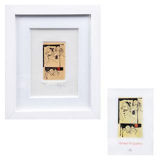 Manuel Felguerez. Sin título. Firmado. Grabado, 84/100 Enmarcado. Incluye libro.10 x 6 cm