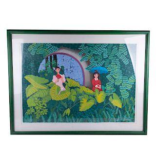 Trinidad Osorio (Cd. México, 1929 - 2002) Green Garden. Serigrafía 107/200 Firmada. Enmarcada.