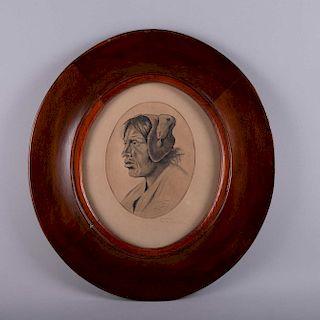 Carlos Dreyes. Aborigen boliviano. Tinta sobre papel. Firmado y fechado 1924. Enmacardo. 23 x 17 cm