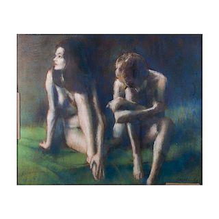 Jóvenes desnudos. Escuela Europea, siglo XX. Pastel sobre papel. Firmado. Enmarcado.