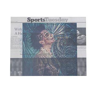 """Juan Carlos Mendoza. """"New York Woman II"""" Collage sobre papel periódico. Firmado y fechado 2017. Enmarcado. Deta"""