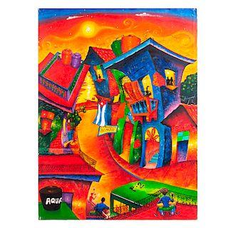 """Lázaro Herrera Ramírez """"Tuty"""",""""Calle de la bodeguita del medio"""", De la serie Casas. Óleo sobre tela. Firmado y fechado '016."""