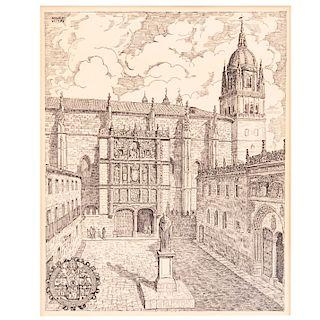 Abraido del Rey. España, Ca. 1974. Vista de la Universidad de Salamanca. Grabado sobre papel. 31 x 24 cm