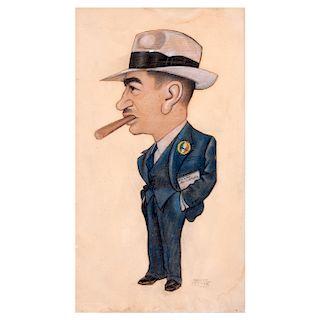 Freyre, Rafael. Caricatura de personaje político. Collage, pastel sobre papel. Firmada. Enmarcado. 50 x 28 cm