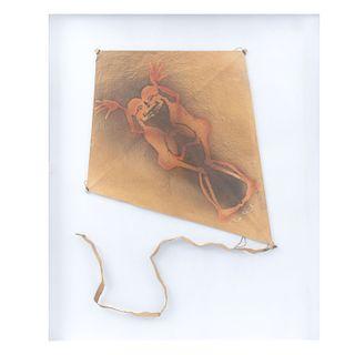 FRANCISCO TOLEDO. Papalote con 2 personajes. Firmado. Técnica mixta sobre papel. Enmarcado. 63 x 51 cm