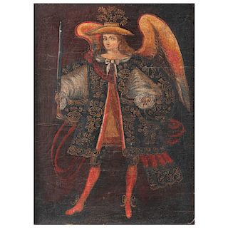 Anónimo. Arcángel Arcabucero. Escuela Cuzqueña. Óleo sobre tela adherido a rígido. Enmarcado. 76 x 56 cm