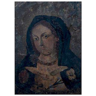 Anónimo. Siglo XIX. Espíritu de Maria. Óleo sobre lámina. 35 x 25 cm